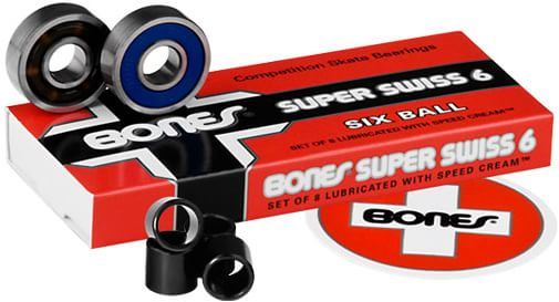 Bones Bearings Super Swiss 6 Skateboard Bearings - blue - view large