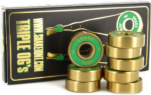 Shake Junt Triple OG ABEC 7 Skateboard Bearings - green/gold - view large