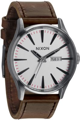 Nixon Sentry Leather Watch - silver/brown - view large