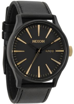 Nixon Sentry Leather Watch - matte black/gold - view large