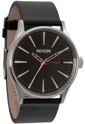 Nixon Sentry Leather Watch - black - view large