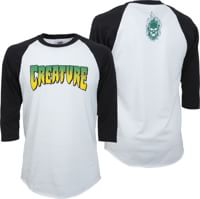Creature Logo Raglan 3/4 Sleeve T-Shirt - white/black