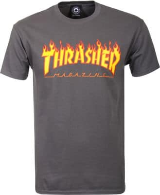 Thrasher Flame T-Shirt - charcoal - view large
