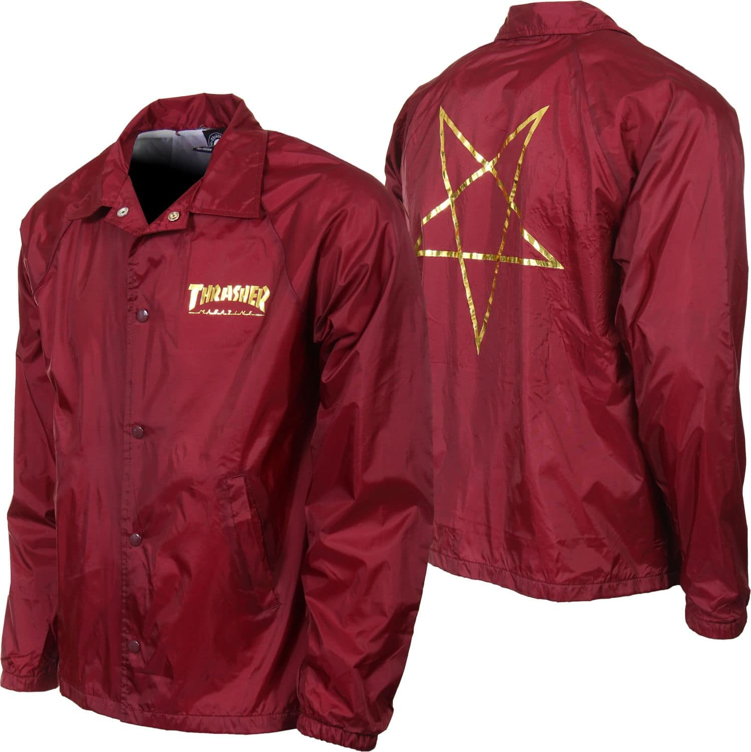 Thrasher Pentagram Coach Jacket - maroon - Free Shipping