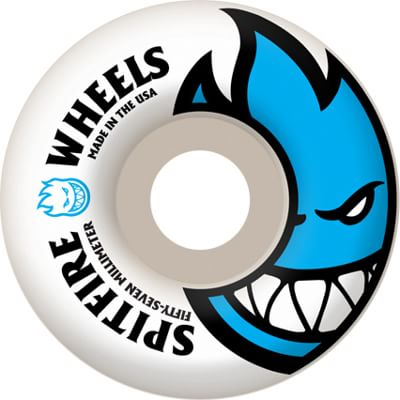 Spitfire Bighead Skateboard Wheels - white/cyan blue (99d) - view large