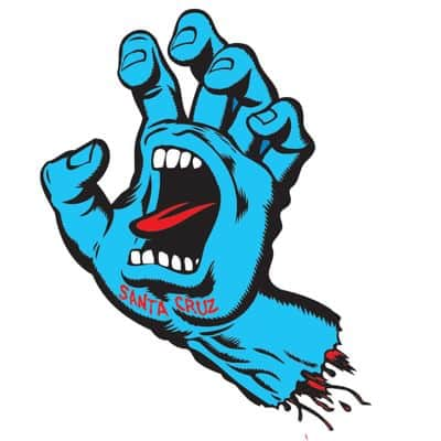 "Santa Cruz Screaming Hand 6"" Sticker - blue - view large"