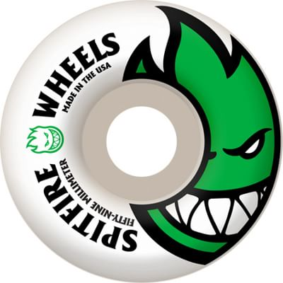 Spitfire Bighead Skateboard Wheels - white/dark green (99d)