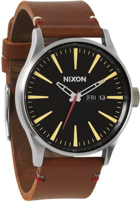 Nixon Sentry Leather Watch - black/brown - view large