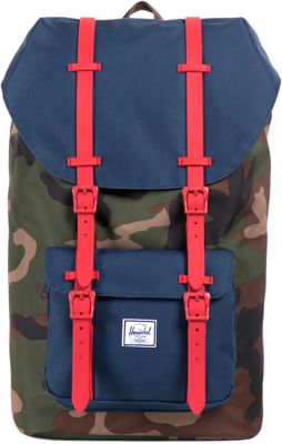 Herschel Supply Little America Backpack - woodland camo/navy/red rubber - view large