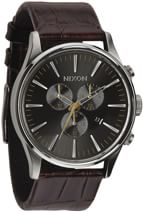 Nixon Sentry Chrono Leather Watch - brown gator