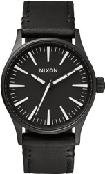 Nixon Sentry 38 Leather Watch - black/white