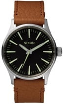 Nixon Sentry 38 Leather Watch - black/saddle