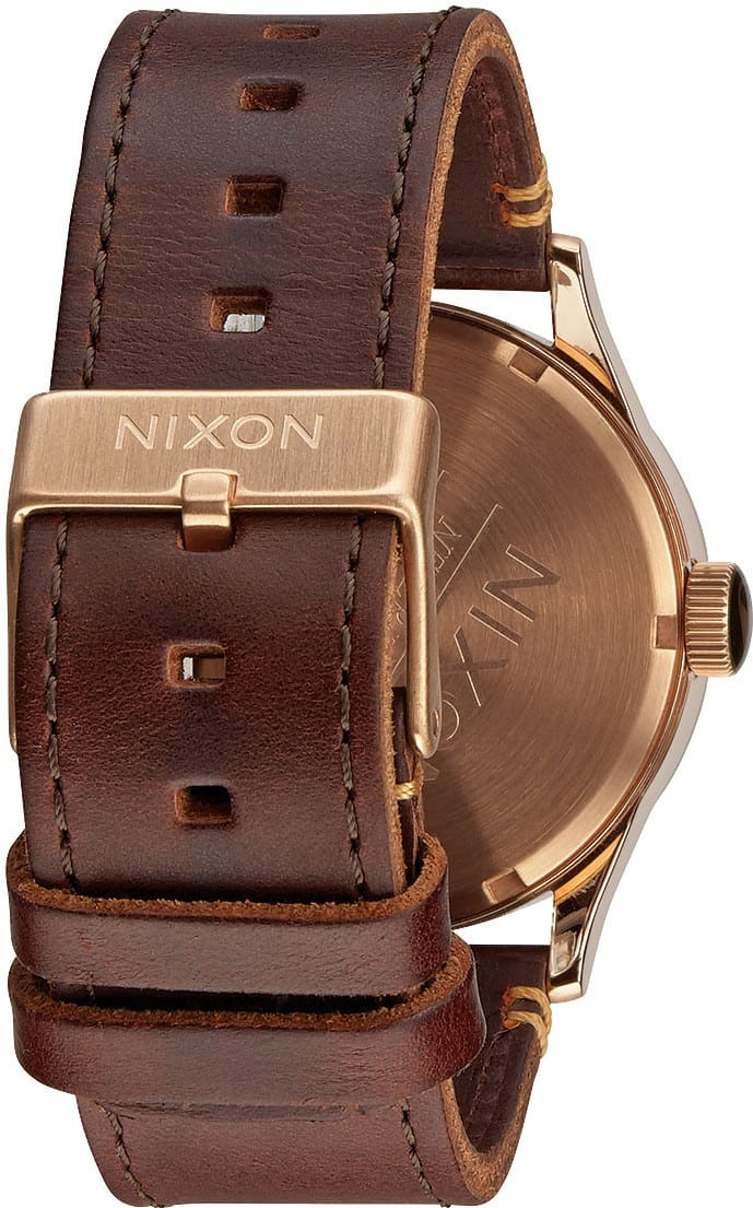 Nixon Sentry Leather Watch - rose gold/gunmetal/brown ...