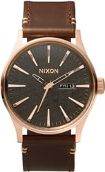 Nixon Sentry Leather Watch - rose gold/gunmetal/brown