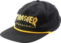 Thrasher Logo Rope Snapback Hat - black