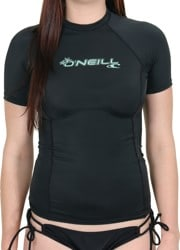 O'Neill Women's Basic Skins Short Sleeve Rash Guard - black/spyglass
