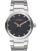 Nixon Cannon Watch - gray/rose gold