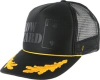 Lowcard Original Logo Mesh Trucker Hat - black/black/gold captain's mesh