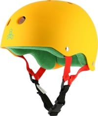 Triple Eight Brainsaver Multi-Impact Sweatsaver Skate Helmet - rasta yellow rubber