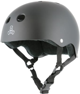 Triple Eight Brainsaver Multi-Impact Sweatsaver Skate Helmet - all black rubber - view large
