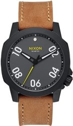 Nixon Ranger 40 Leather Watch - black/gunmetal/natural