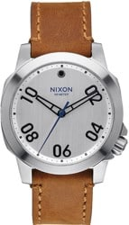 Nixon Ranger 40 Leather Watch - silver/saddle