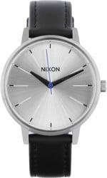 Nixon Kensington Leather Watch - silver/black/blue