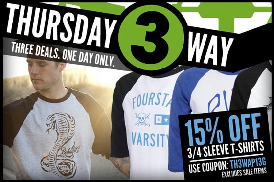 Thursday Threeway: Best 3/4 Sleeve T-Shirts Available Now