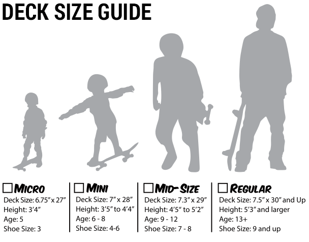 Skateboard completes size chart tactics