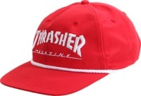 Thrasher Logo Rope Snapback Hat - red/white
