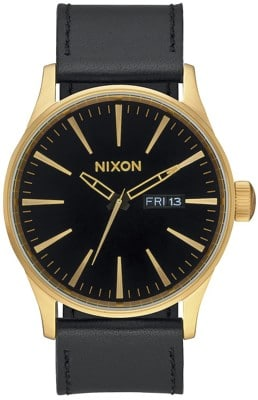 Nixon Sentry Leather Watch - gold/black - view large