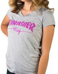 Thrasher Women's Mag Logo V-Neck T-Shirt - athletic heather