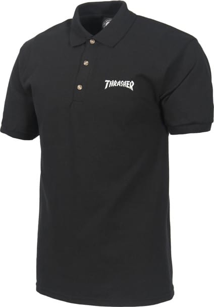 Thrasher Logo Embroidered Polo Shirt - black - view large