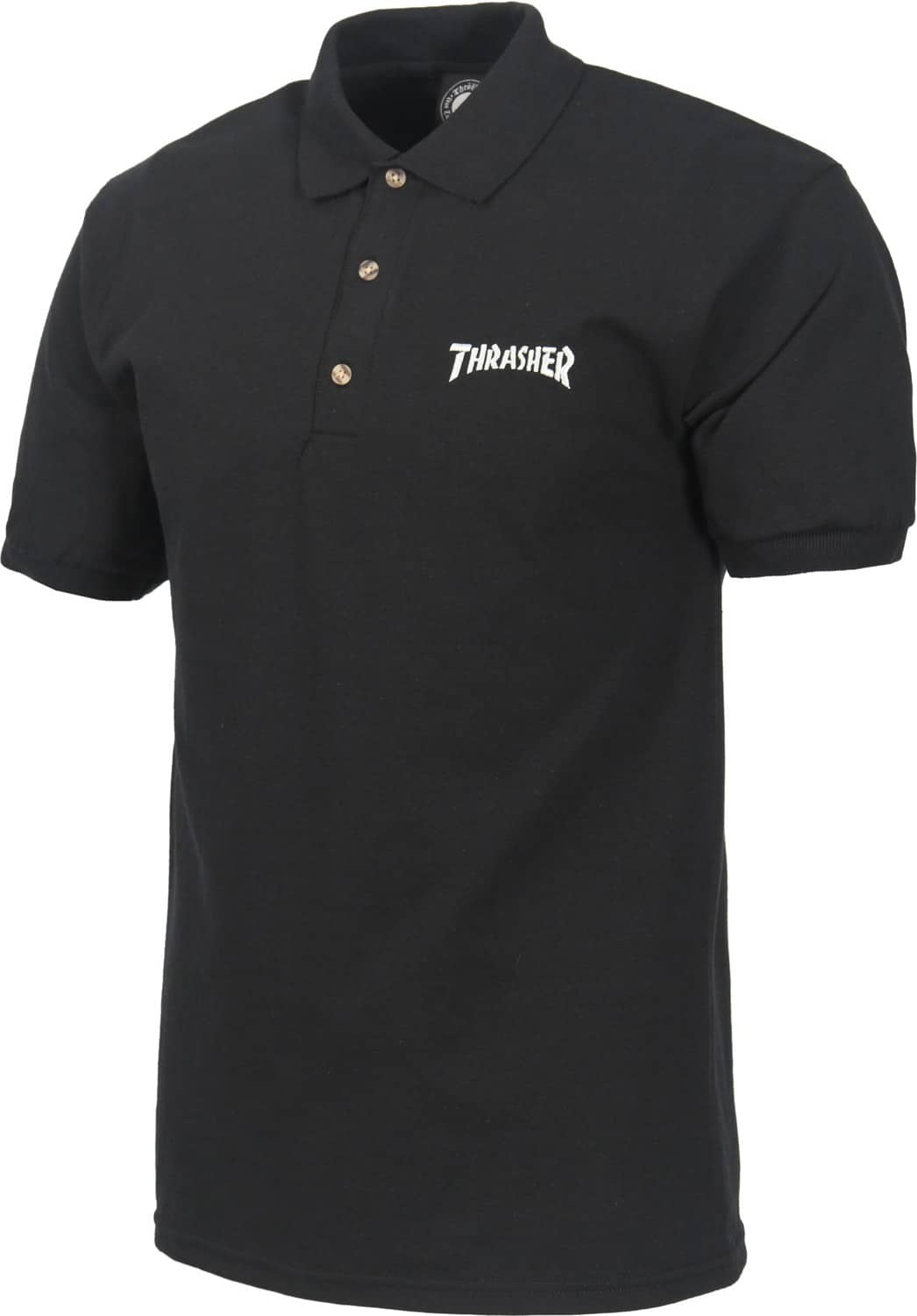 Thrasher Logo Embroidered Polo Shirt Black Free Shipping