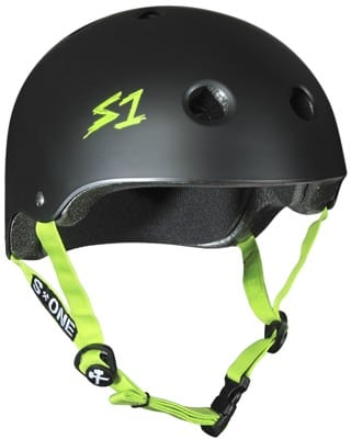 S-One Lifer Dual Certified Multi-Impact Skate Helmet - black matte/bright green strap - view large