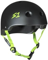 S-One Lifer Dual Certified Multi-Impact Skate Helmet - black matte/bright green strap