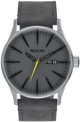 Nixon Sentry Leather Watch - charcoal