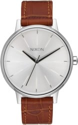 Nixon Kensington Leather Watch - silver/saddle gator