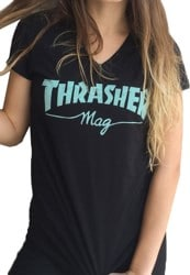Thrasher Women's Mag Logo V-Neck T-Shirt - black