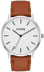 Nixon Porter Leather Watch - white sunray/saddle