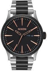 Nixon Sentry SS Watch - black/rose gold