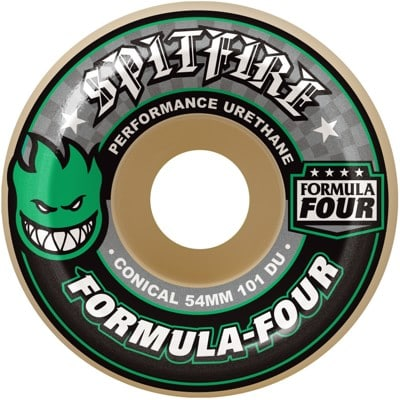 Spitfire Formula Four Conical Skateboard Wheels - white/green (101d) - view large