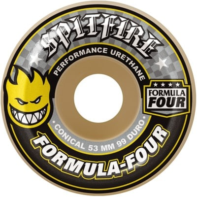 Spitfire Formula Four Conical Skateboard Wheels - white/yellow (99d) - view large