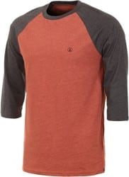 Volcom Solid Heather Raglan 3/4 Sleeve T-Shirt - dark clay