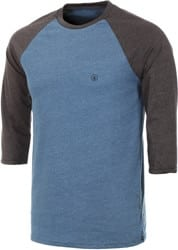 Volcom Solid Heather Raglan 3/4 Sleeve T-Shirt - smokey blue heather