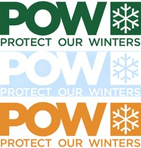 Protect Our Winters POW Die Cut Sticker - dark green/white/orange (3-pack)