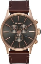 Nixon Sentry Chrono Leather Watch - rose gold/gunmetal/brown