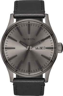 Nixon Sentry Leather Watch - gunmetal/black - view large