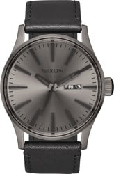 Nixon Sentry Leather Watch - gunmetal/black