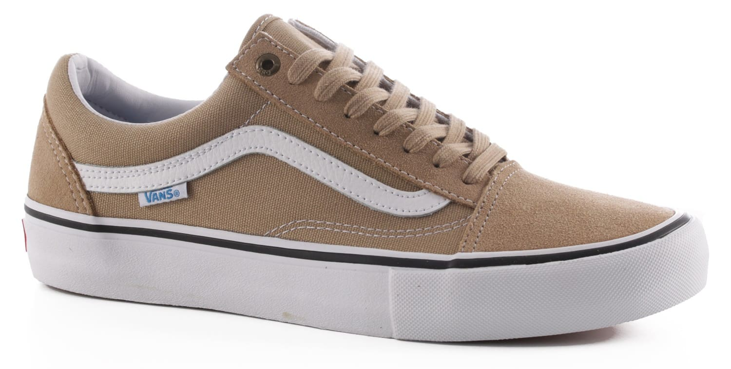 vans old skool pro skate shoes khaki white free shipping. Black Bedroom Furniture Sets. Home Design Ideas